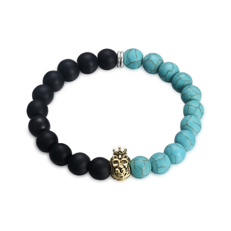 Blue + Black Golden Lion Chakra Bracelet