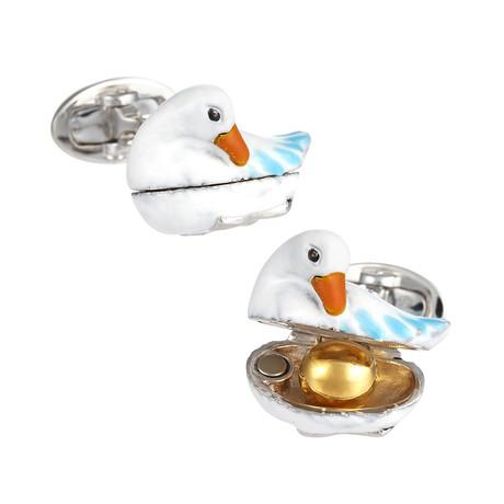 Goose + 24k Vermeil Egg Cufflinks