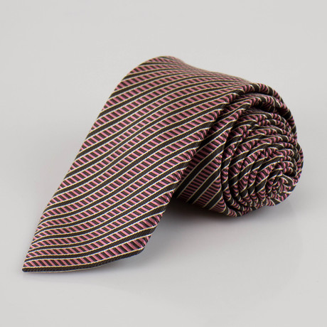 Ermenegildo Zegna // Striped Silk Neck Tie // Brown + Pink