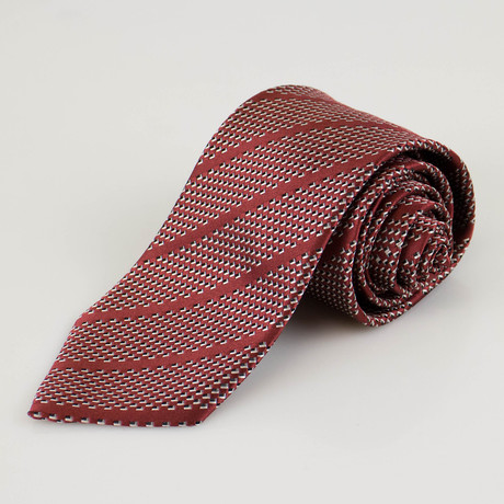 Ermenegildo Zegna // Striped Silk Neck Tie // Auburn Brown