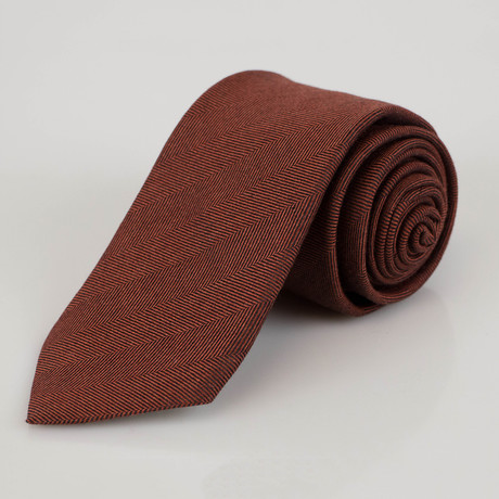 Ermenegildo Zegna // Herringbone Cashmere Blend Neck Tie // Brown