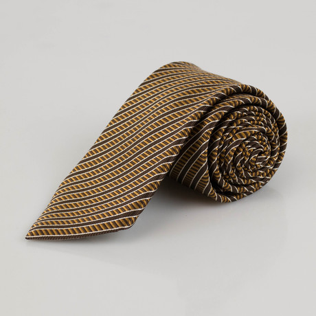 Ermenegildo Zegna // Striped Silk Neck Tie // Lion Brown