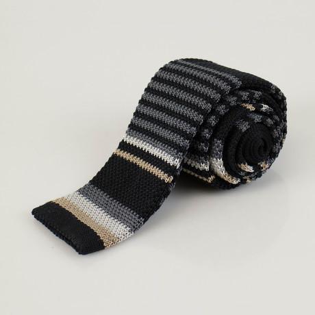 Ermenegildo Zegna // Striped Silk Knitted Sock Neck Tie // Black