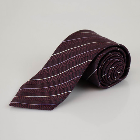 Ermenegildo Zegna // Striped Silk Neck Tie // Purple