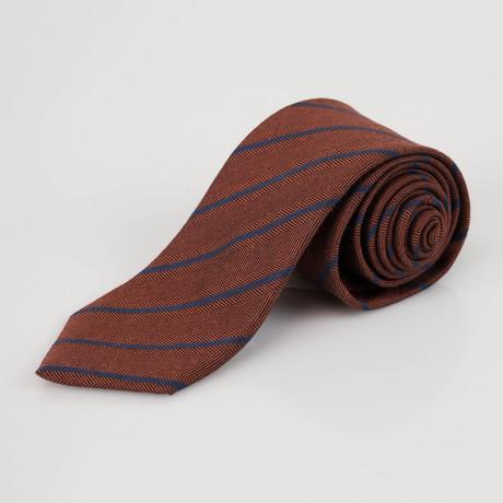Ermenegildo Zegna // Striped Cashmere Blend Neck Tie // Brown