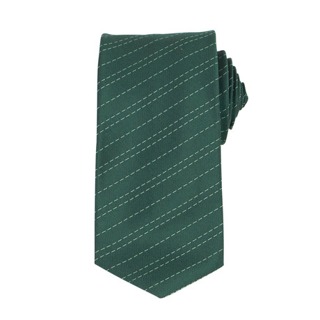 John Lobb // Winston Striped Twin-Stitch Silk Tie