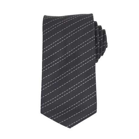 John Lobb // Matthew Striped Twin-Stitch Silk Tie