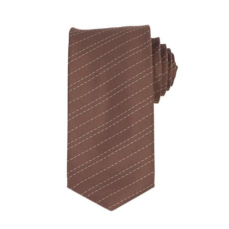 John Lobb // Striped Twinstitch Silk Tie // Parisian Brown