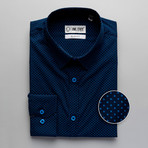 Patterned Slim Fit Contrast Button-Up // Navy (S)