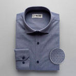 Patterned Slim Fit Button-Up // Blue + Gray (S)