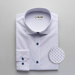 Patterned Slim Fit Button-Up // White + Blue (M)
