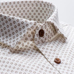 Patterned Slim Fit Button-Up // Brown (S)