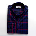 Ingram Checkered Slim Fit Button Up Shirt // Navy + Purple (M)