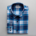 Checkered Slim Fit Button-Up // Navy + Teal (M)
