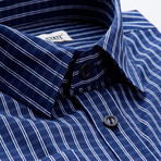 Checkered Slim Fit Button-Up // Navy (L)