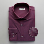 Patterned Slim Fit Button-Up // Maroon (L)