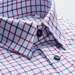 Checkered Regular Fit Button-Up // Navy + Red (L)