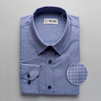 Checkered Regular Fit Button-Up // Pale Blue + Purple (2XL)