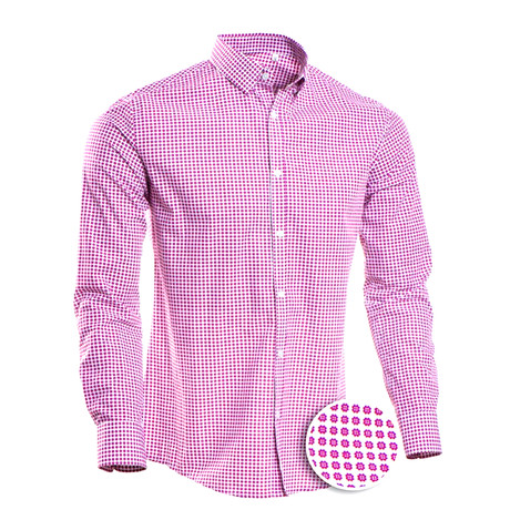 Patterned Slim Fit Dress Shirt // Berry (S)