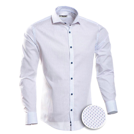 Patterned Slim Fit Button-Up // White + Blue (S)