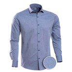 Patterned Slim Fit Button-Up // Blue-Gray (M)