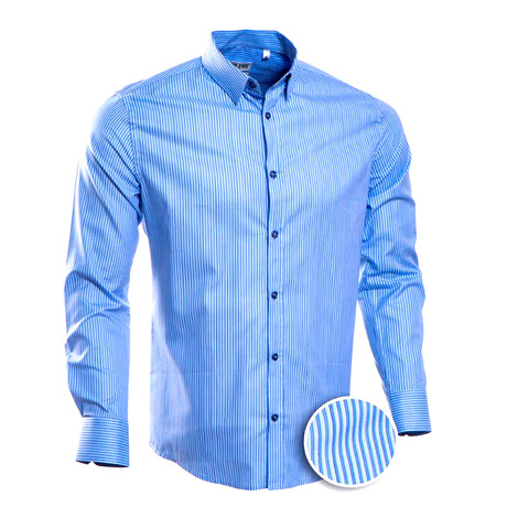 Striped Slim Fit Button-Up // Royal (S)