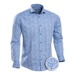 Daniel Patterned Slim Fit Button Up Shirt // Blue (2XL)
