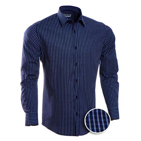 Checkered Slim Fit Button-Up // Navy (S)