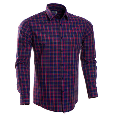 Checkered Slim Fit Button-Up // Blue + Red + Purple