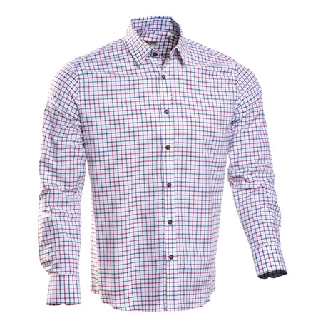 Checkered Regular Fit Button-Up // Navy + Red (S)