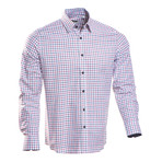 Checkered Regular Fit Button-Up // Navy + Red (M)