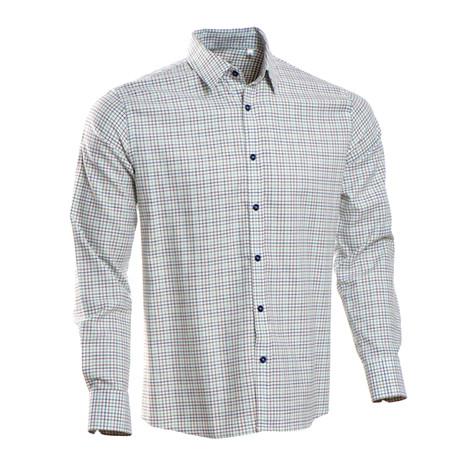 Checkered Regular Fit Button-Up // Green + Brown + Blue (S)