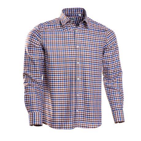 Checkered Regular Fit Button-Up // Brown + Blue (S)