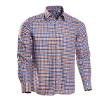 Checkered Regular Fit Button-Up // Brown + Blue (L)