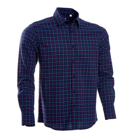 Ramsey Checkered Regular Fit Button Up Shirt // Dark Blue (S)