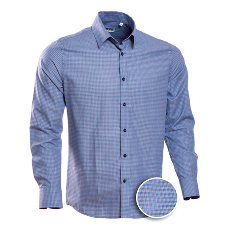 Checkered Regular Fit Button-Up // Pale Blue + Purple