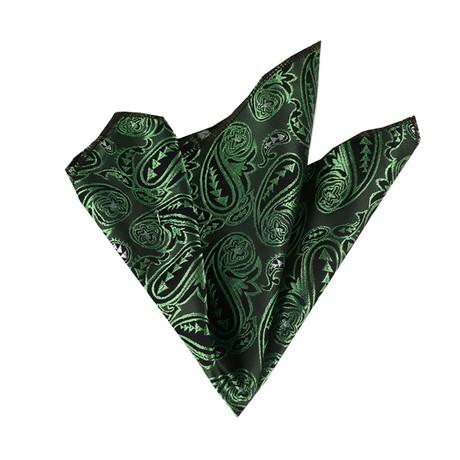 Paisley Silk Handkerchief // Green + Black