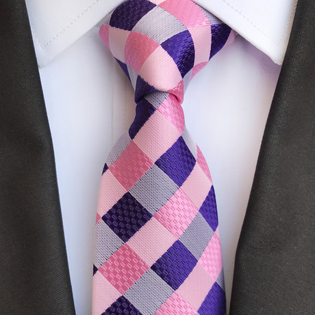 Conrad Tie // Pink + Blue Checkered