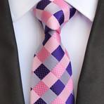 Conrad Tie // Pink + Blue Checkered