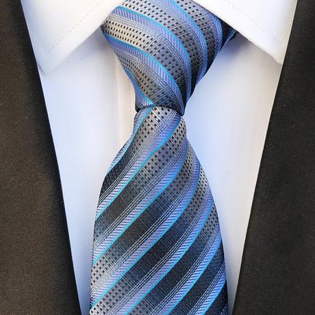 Devon Silk Tie // Blue + Silver