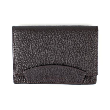 Pebbled Envelope Card Holder Wallet // Chocolate Brown
