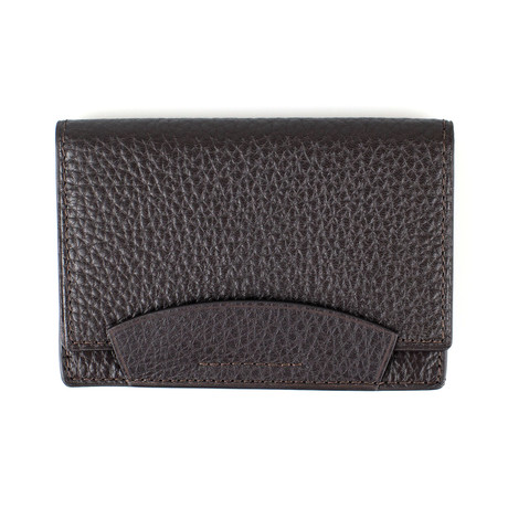 Pebbled Envelope Card Holder Wallet // Chocolate Brown