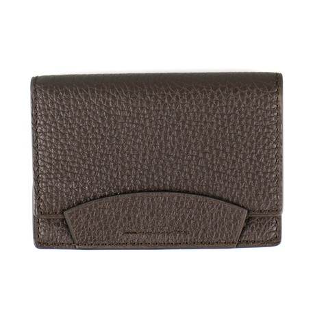 Pebbled Envelope Card Holder Wallet // Brown