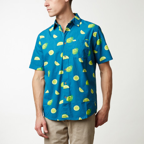 Limes Printed Shirt // Navy