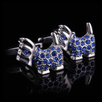 Exclusive Cufflinks + Gift Box // Silver + Blue Dogs