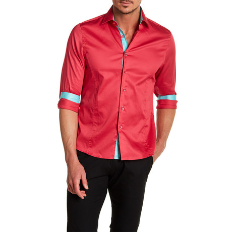 Willie Slim-Fit Solid Dress Shirt // Fuchsia (S)