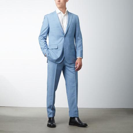 Modern Fit Sharkskin Suit // Lite Blue