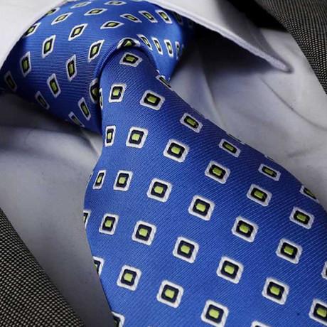 Square Pattern Silk Neck Tie // Blue + Yellow