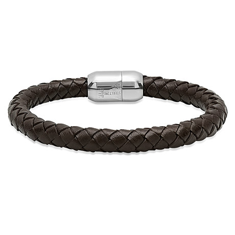 Leather Braided Bracelet + Stainless Steel Clasp // Brown