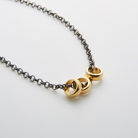 Gold 3 Ring Pendant + Gunmetal Chain